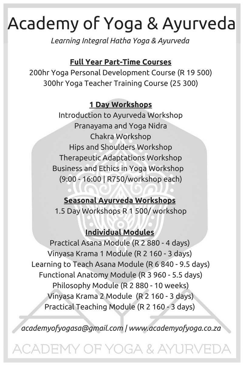 Courses academy of yoga and ayurveda please visit our facebook page for 2018 course dates times and venues xflitez Choice Image